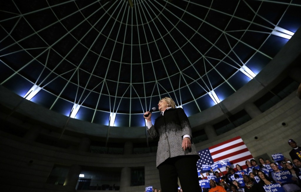 Hillary Clinton during a rally at the Charles H. Wright Museum of African American History in Detroit. AP Photo/Charlie Neibergall