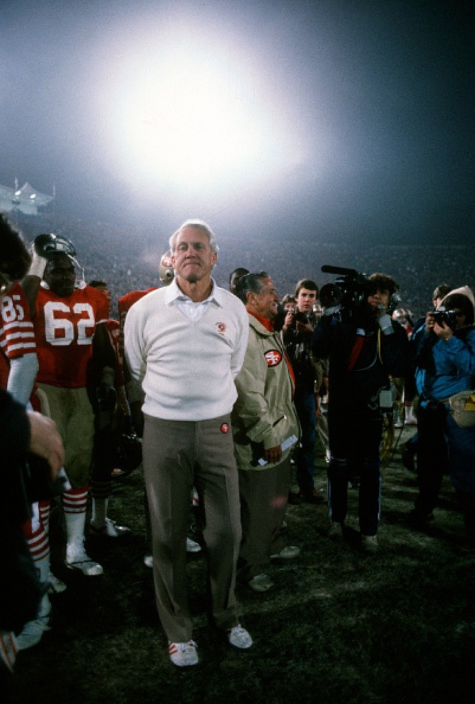 Coach Bill Walsh of the 49ers during 38-16 victory over the Dolphins in Super Bowl XIX, Jan. 1985 at Stanford Stadium in Palo Alto. Focus on Sport/Getty Images