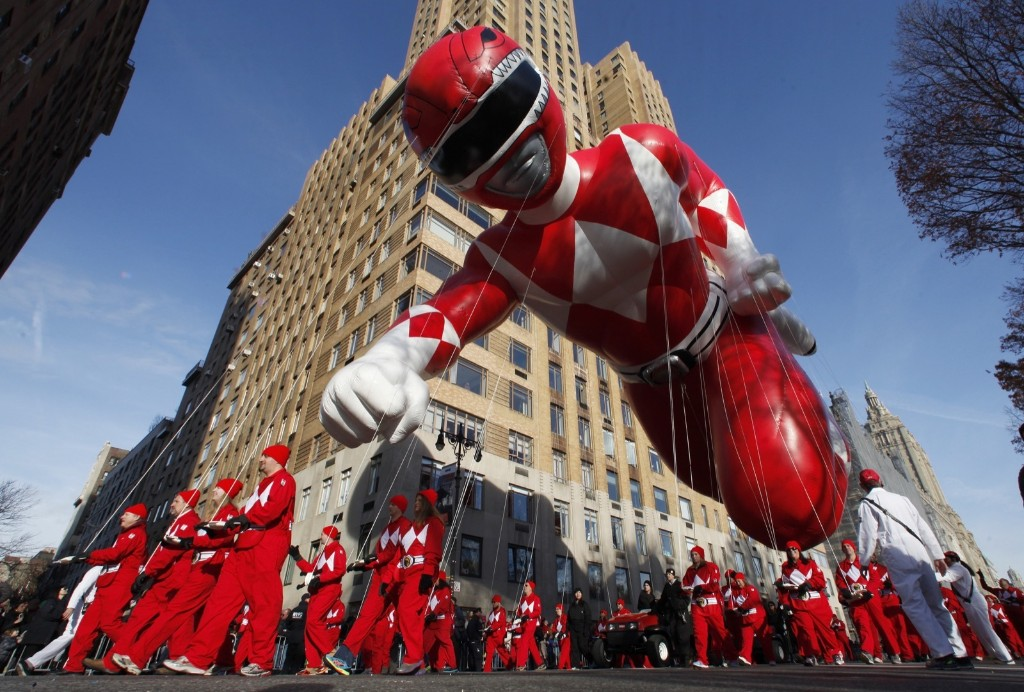 The Red Mighty Morphin Power Ranger balloon floats down Central Park West in the Macy's Thanksgiving Day Parade in New York, Thursday. Photo by Gary Hershorn
