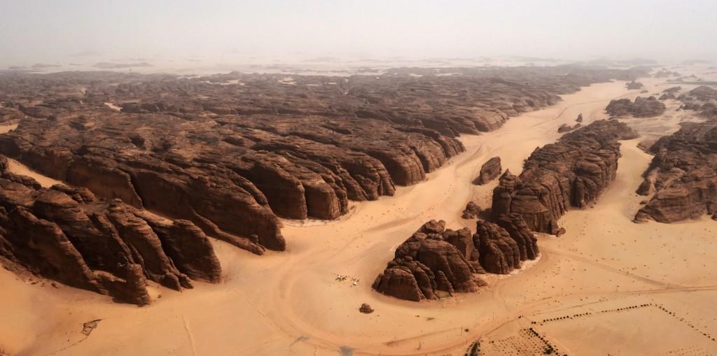 Rose-colored sandstone mountains in the desert of al-Ula in northwestern Saudi Arabia. FAYEZ NURELDINE/AFP/Getty Images