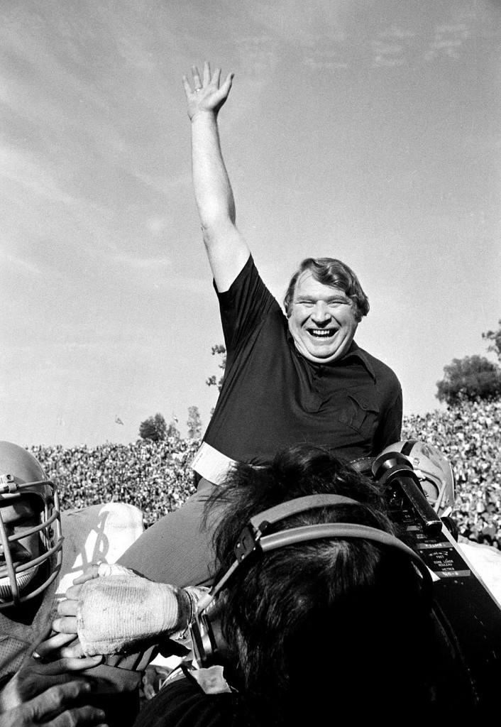 Coach John Madden after the Raiders defeated the Vikings, 32-14, in Super Bowl Xl in Pasadena, Jan. 1977. AP Photo