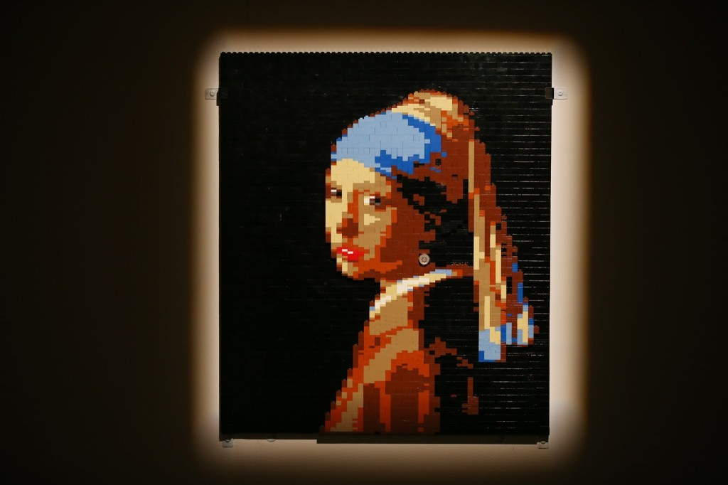 A Lego version of the painting 'Girl with a Pearl Earring'. Peter Macdiarmid/Getty Images