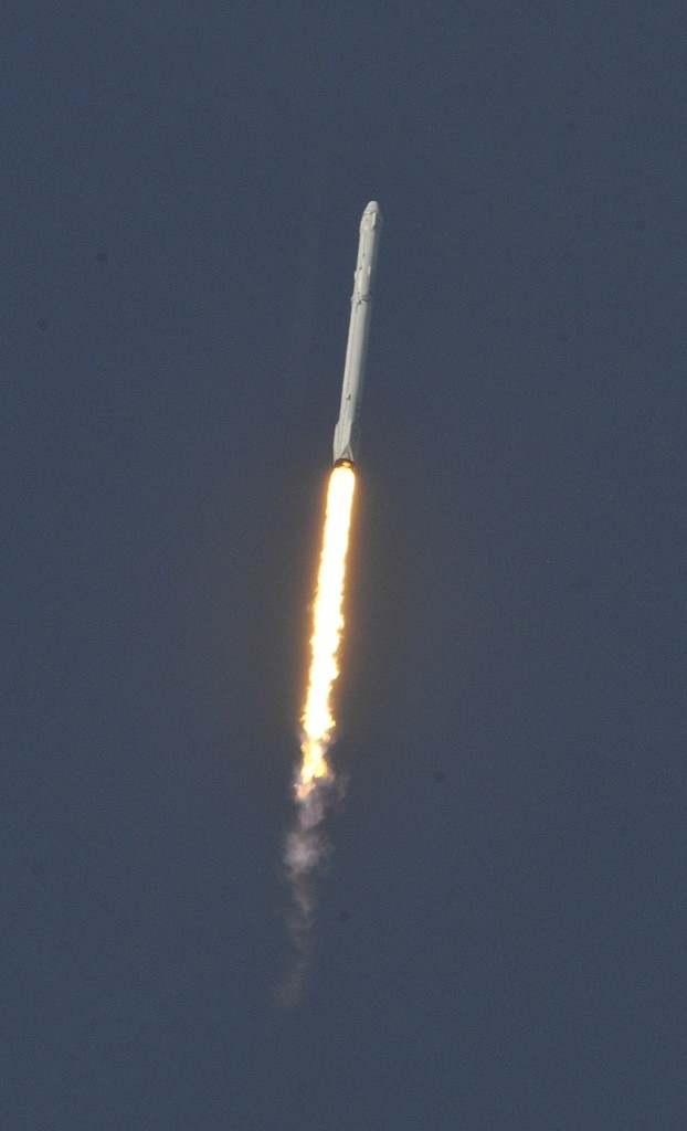 Space X's Falcon 9 rocket lifts off with an unmanned Dragon cargo craft. BRUCE WEAVER/AFP/Getty Images