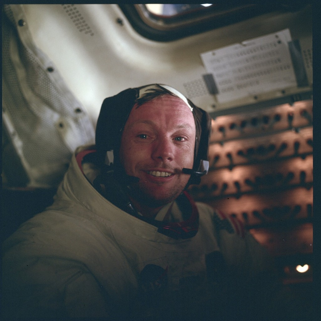 Mission commander Neil Armstrong back aboard the Lunar Excursion Module 'Eagle' after he and Buzz Aldrin were the first human beings to explore the surface of our moon, July 20, 1969. NASA Photo
