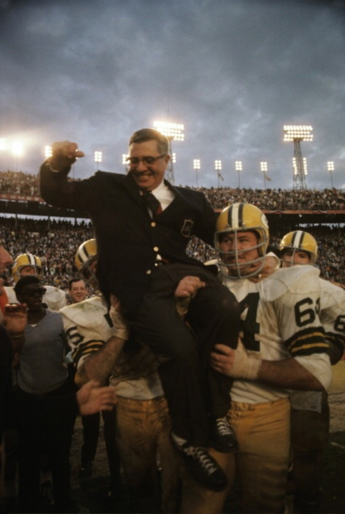 Packers coach Vince Lombardi getting carried off field by Jerry Kramer after winning second NFL/AFL title game against the Oakland Raiders at Orange Bowl Stadium, Jan. 1968. Neil Leifer/Sports Illustrated/Getty Images
