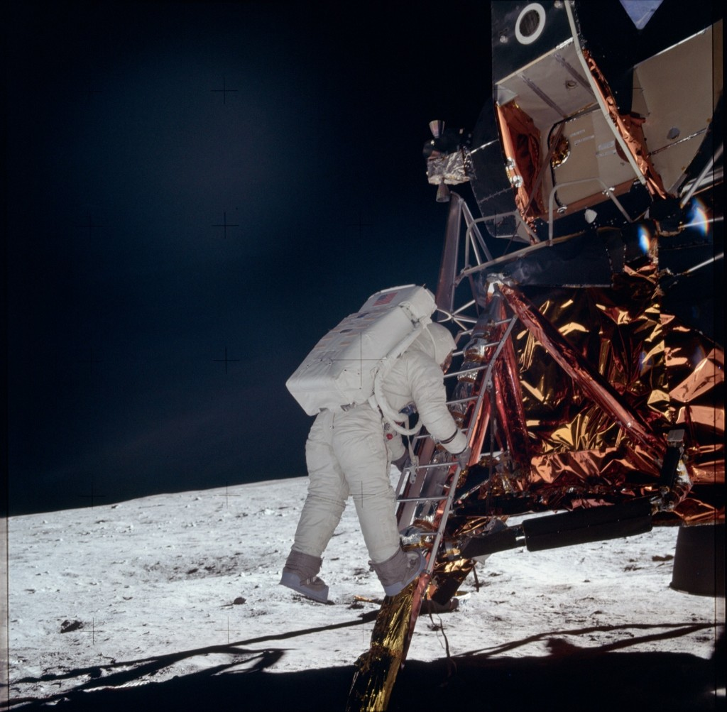 Apollo 11 astronaut Buzz Aldrin descends from the Lunar Excursion Module 'Eagle' to the surface of the moon. NASA Photo
