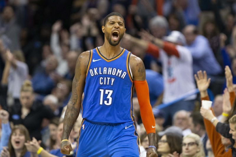Feb 22, 2019; Oklahoma City, OK, USA; Oklahoma City Thunder forward Paul George (13) celebrates after scoring against the Utah Jazz during the second half at Chesapeake Energy Arena. Mandatory Credit: Alonzo Adams-USA TODAY Sports