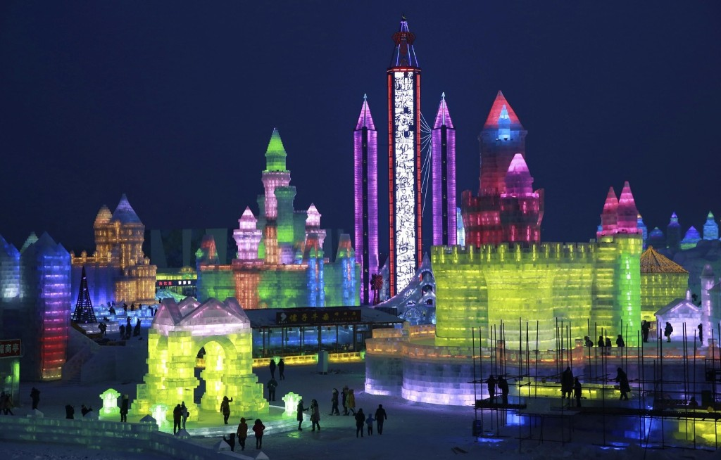 Newly-built ice sculptures during a trial operation of the Harbin Ice and Snow World in China. REUTERS/Stringer