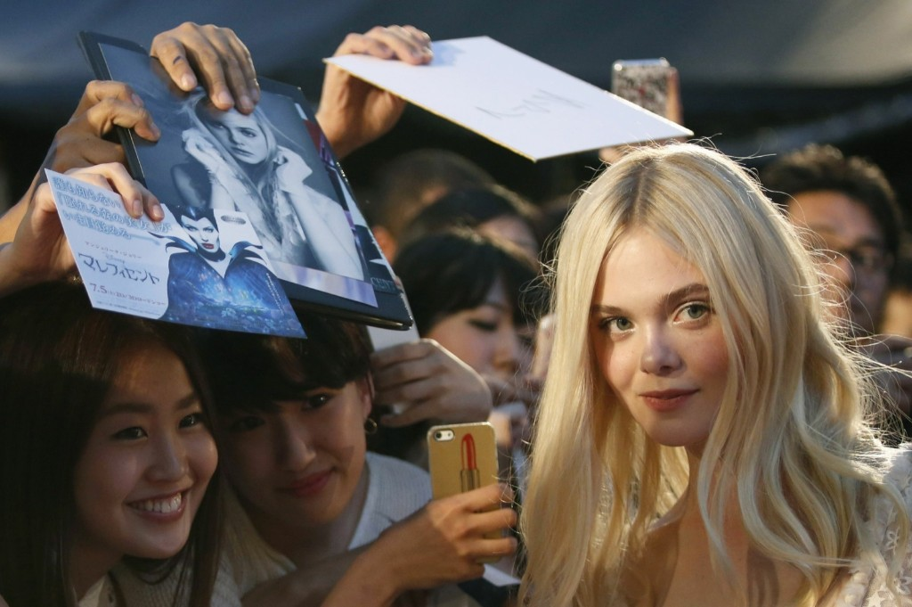 """Elle Fanning at the Japanese premiere of """"Maleficent"""" in Tokyo. REUTERS/Yuya Shino"""