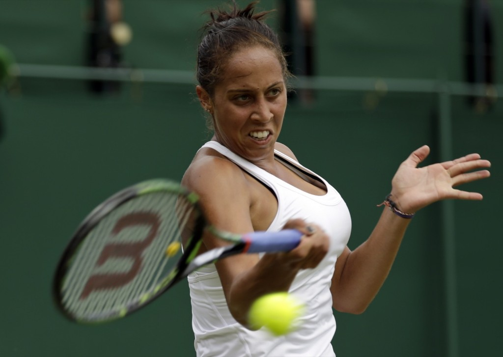 Madison Keys during her victory over Olga Govortsova of Belarus. AP Photo/Pavel Golovkin