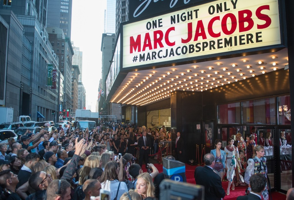The scene outside the Marc Jacobs Spring 2016 show at the Ziegfeld Theatre. AP Photo/Bryan R. Smith