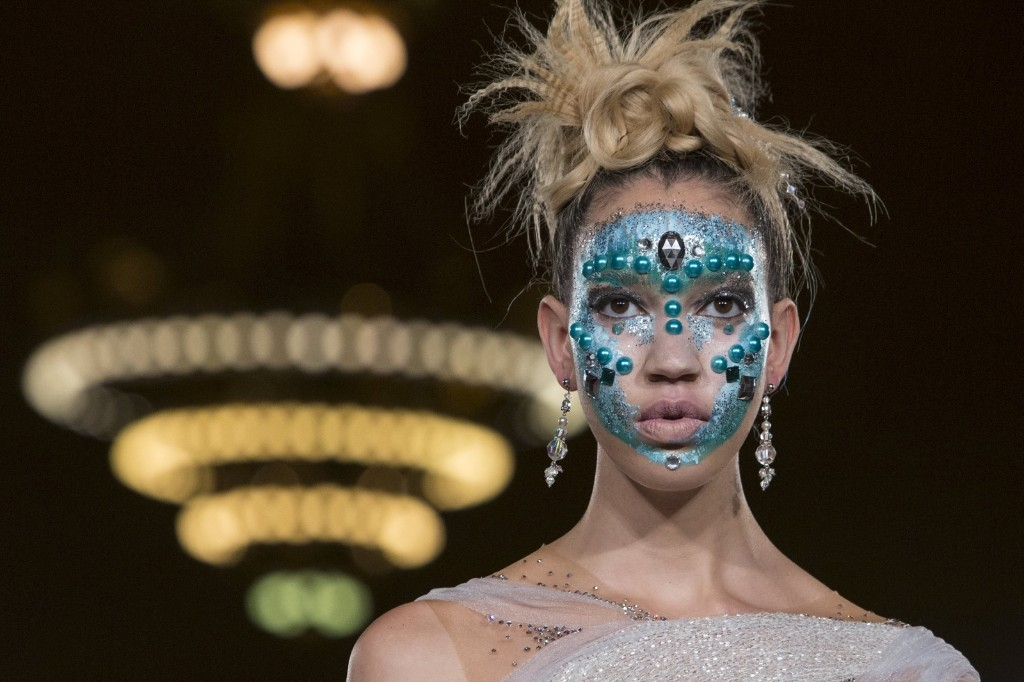 A model presents a creation from the Hendrik Vermeulen label during the FTL Moda presentation of the Spring/Summer 2016 collection at Grand Central Station. REUTERS/Andrew Kelly