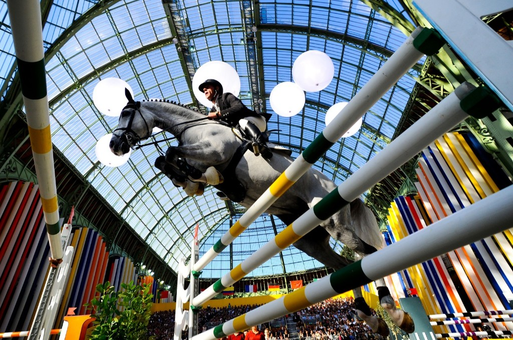 Marcus Ehning of Germany, on Cornado NRW, winning the Grand Prix Hermes at the Grand Palais in Paris. David Ramos/Getty Images