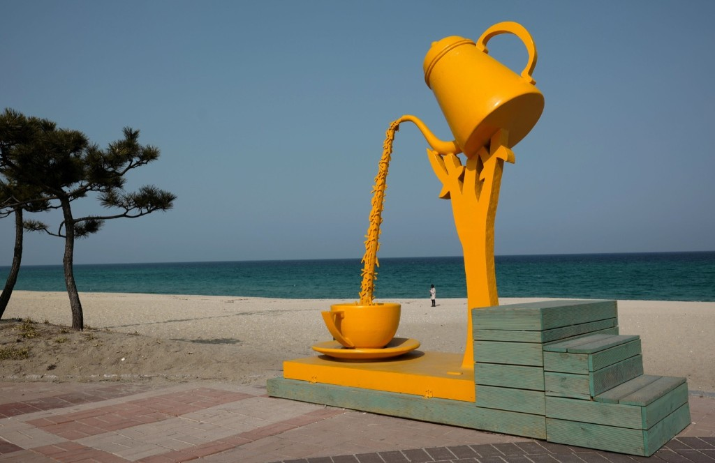 """The artwork """"coffee and poetry"""" at Gangneung. REUTERS/ Kai Pfaffenbach"""
