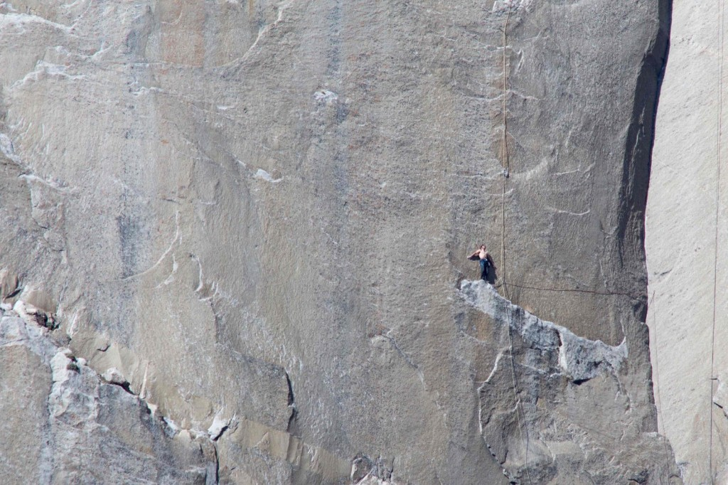 Climber Kevin Jorgeson looks up from Pitch 18 on the Dawn Wall of the El Capitan. REUTERS/Tom Evans/