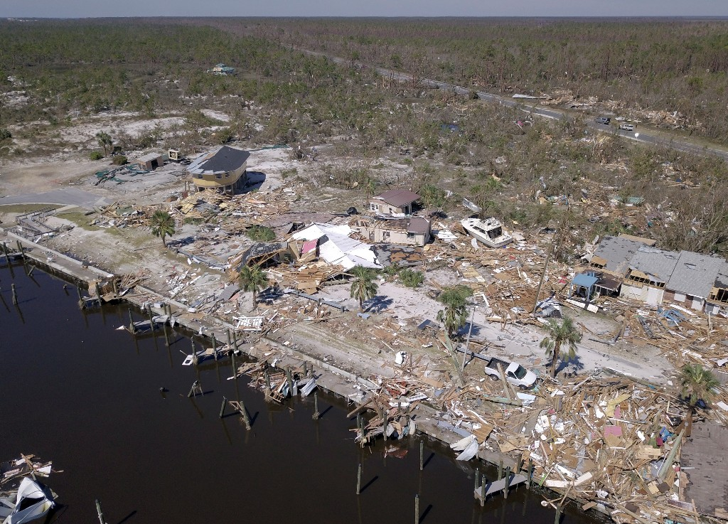 Aerial photo shows damaged and destroyed homes after Hurricane Michael smashed into Florida's northwest coast in Mexico Beach, Florida, U.S., October 12, 2018. Picture taken October 12, 2018. REUTERS/Dronebase