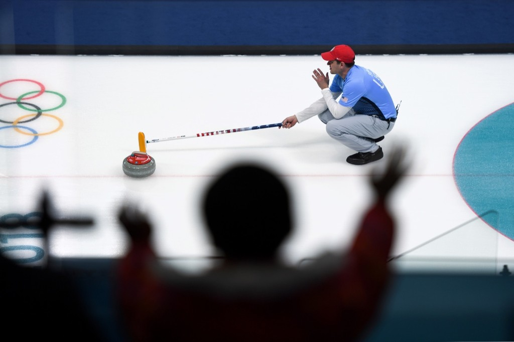USA's John Shuster during the curling men's round robin session against Switzerland. WANG ZHAO/AFP/Getty Images