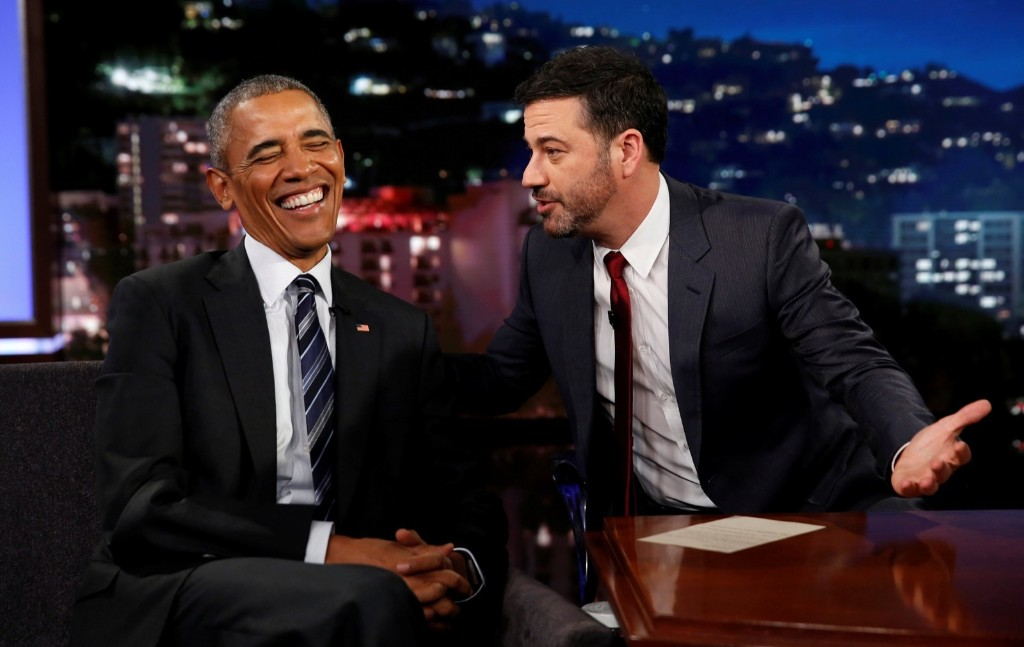 President Obama during a taping of the Jimmy Kimmel Live! show in Los Angeles. REUTERS/Kevin Lamarque