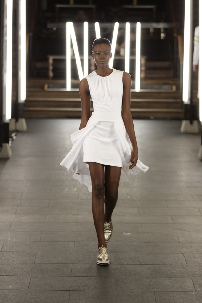 A model walks the runway at NVII by Anne Bowen show at TAO Downtown. Joe Kohen/Getty Images