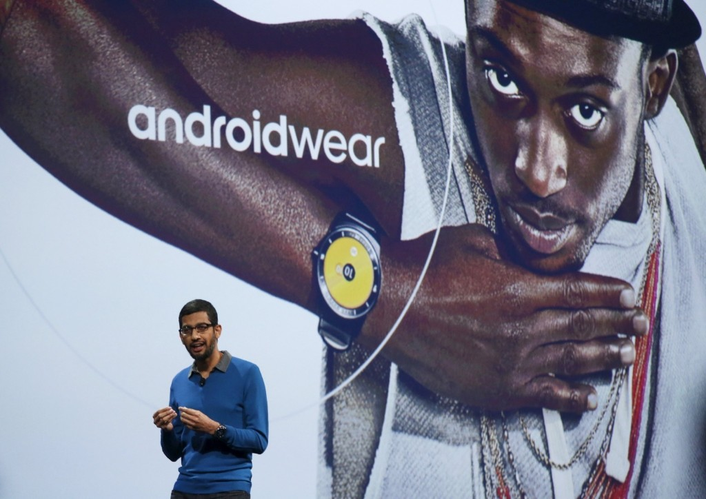 Google senior vice president of product Sundar Pichai delivers the keynote address during the 2015 Google I/O conference, Thursday, in San Francisco. REUTERS/Robert Galbraith