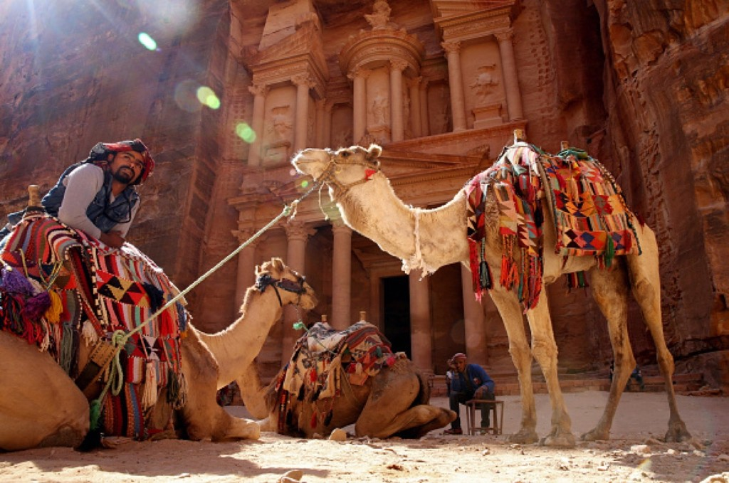 Guides and camels wait for tourists in front of the Al Khazneh, The Petra Treasury, in Petra, Jordan. The Asahi Shimbun/Getty Images