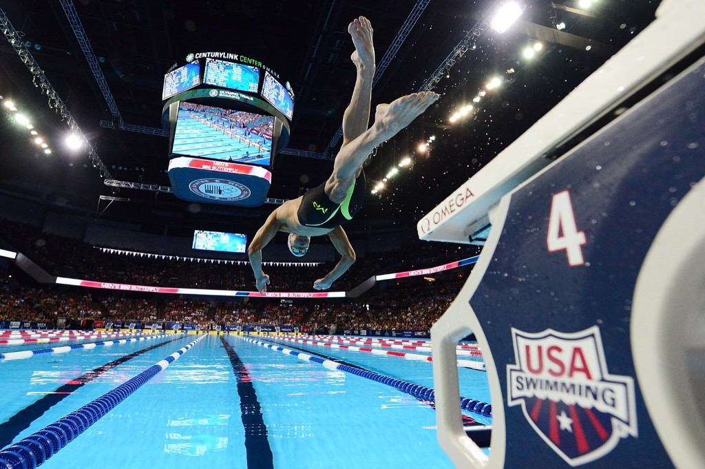Michael Phelps starts the mens 200m butterfly during Day 3 of the 2016 U.S. Olympic Team Swimming Trials. Jeff Curry/Getty Images