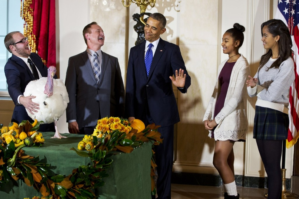 President Obama gestures that his daughters Sasha andd Malia would rather pass on touching 'Cheese' during ceremony Wednesday when the president traditionally pardons a turkey, saving it from the dinner table. AP Photo/Jacquelyn Martin