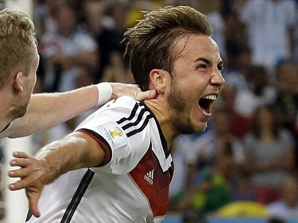 Germany's Mario Goetze after scoring the only goal of the match. AP Photo/Victor R. Caivano