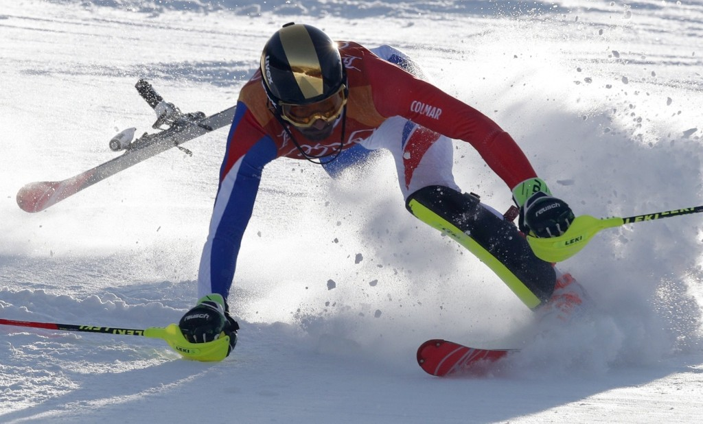 Jean-Baptiste Grange of France crashes during men's slalom. REUTERS/Stefano Rellandini
