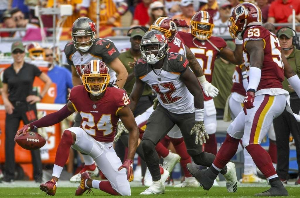 Washington Redskins cornerback Josh Norman celebrates his first quarter goal line interception. (Jonathan Newton/The Washington Post)
