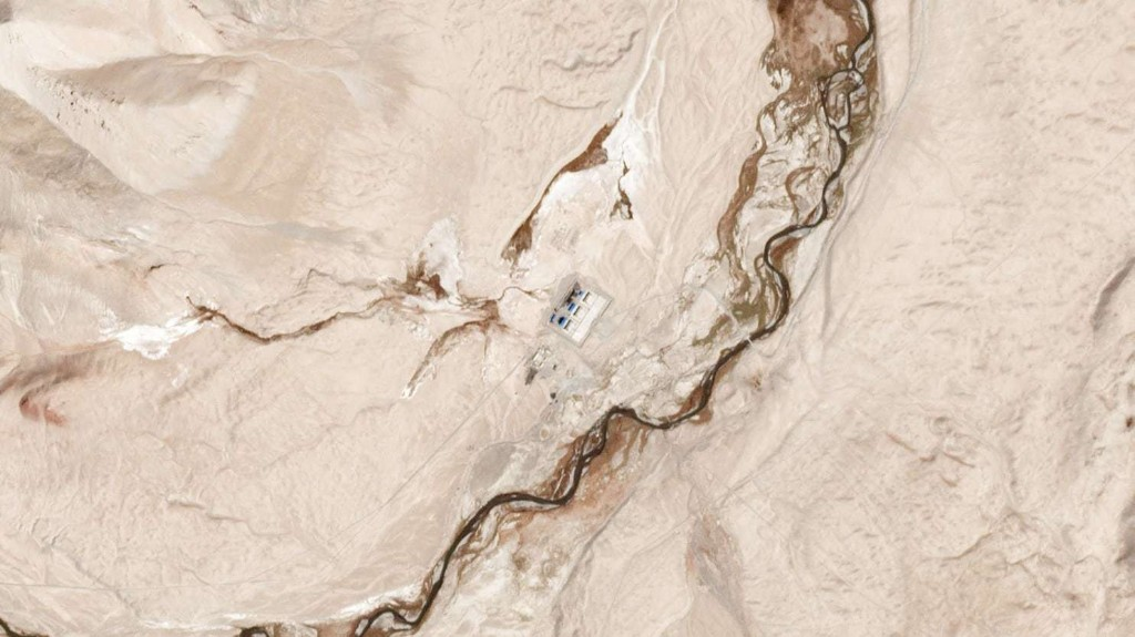 A satellite view of one of the Chinese outposts at the border between Tajikistan and Afghanistan on Sept. 29. (Planet Labs)