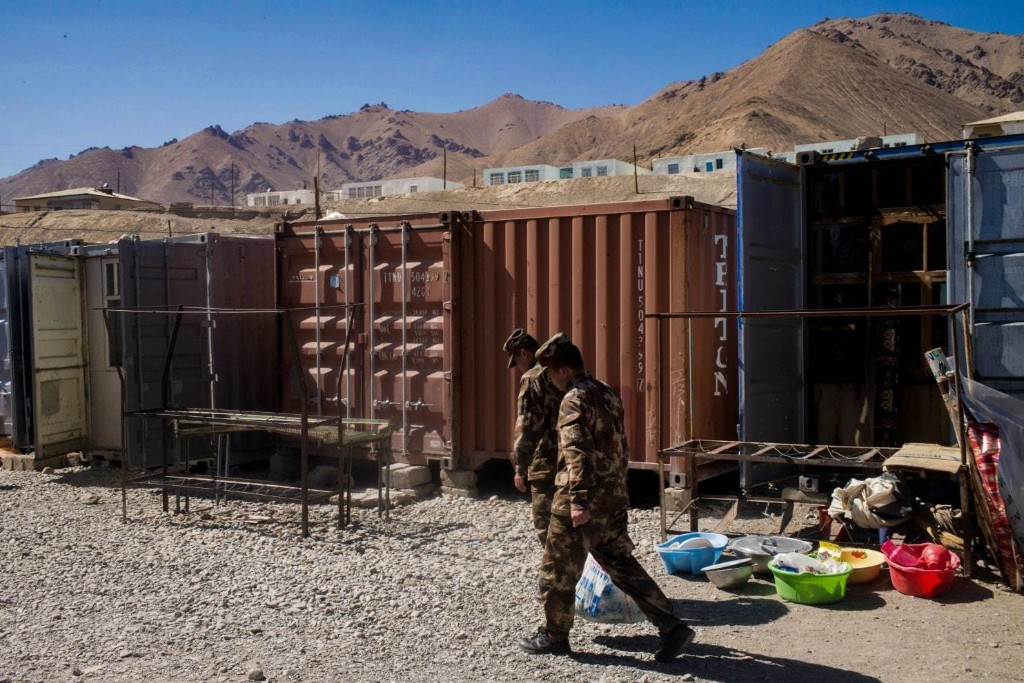 Chinese troops visit the Murghab bazaar. (Gerry Shih/The Washington Post)