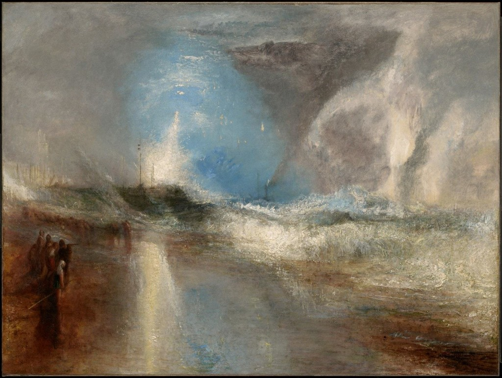 "Joseph Mallord William Turner's ""Rockets and Blue Lights (Close at Hand) to Warn Steamboats of Shoal Water,"" 1840. Oil on canvas. (Clark Art Institute)"