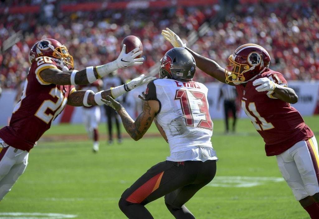 Washington Redskins free safety Ha Ha Clinton-Dix breaks up a pass in the end zone intended for Tampa Bay Buccaneers wide receiver Mike Evans. (Jonathan Newton/The Washington Post)
