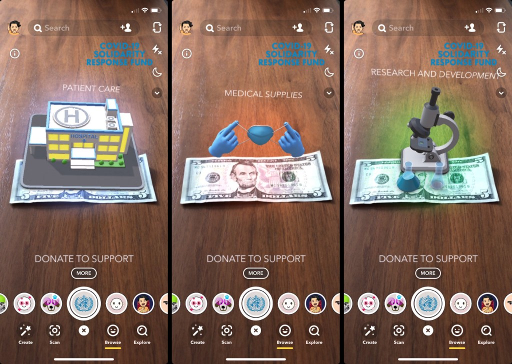 Snapchat encourages donations to fight against COVID-19 through new AR lenses - 9to5Mac