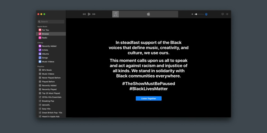 Apple Music joins wider music industry Black Out Tuesday awareness campaign with app takeover - 9to5Mac