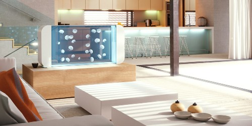 The Pulse 160 aquarium brings live Jellyfish and multi-colored lighting to your living room