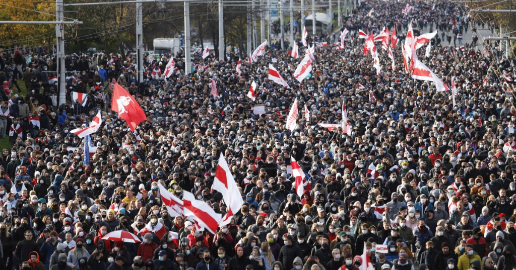 Tens of thousands march in Belarus despite police threat to fire
