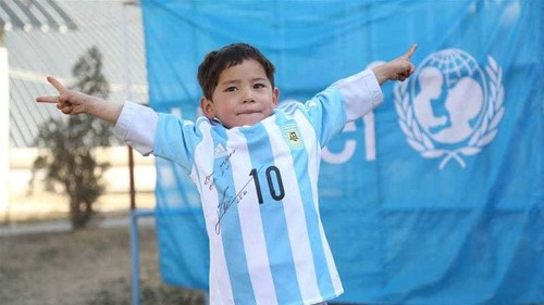 Messi sends Afghan 'plastic shirt boy' a signed jersey