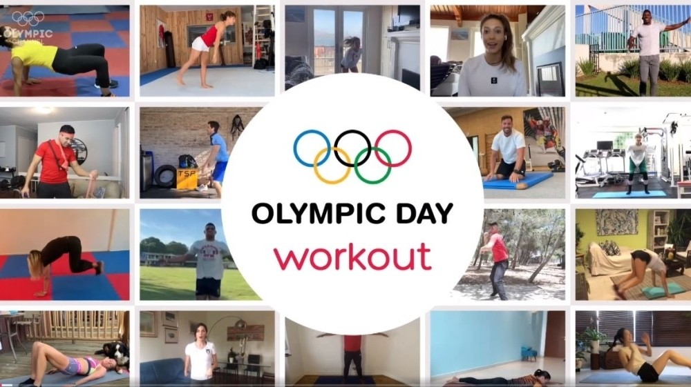 Star athletes lead virtual home workouts on Olympic Day