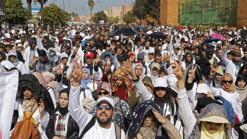Moroccan police crack down on protesting teachers