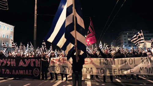 Greece's ultra-right party stages protest