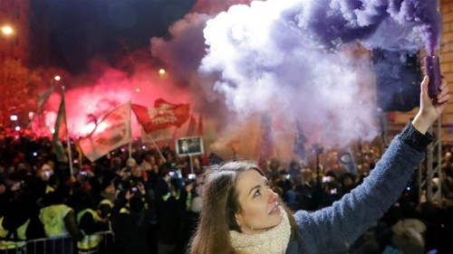 Thousands in Hungary protest PM Viktor Orban's 'slave law'