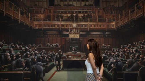 Monkey business? Banksy's primates in parliament up for auction