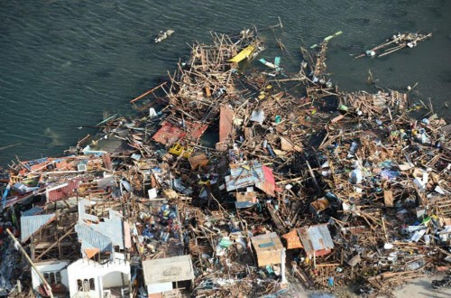 Aerial view of Philippines disaster