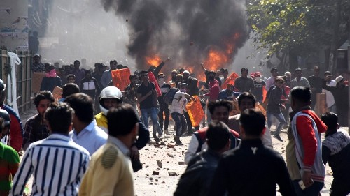 Mosque set on fire as violent protests continue across New Delhi