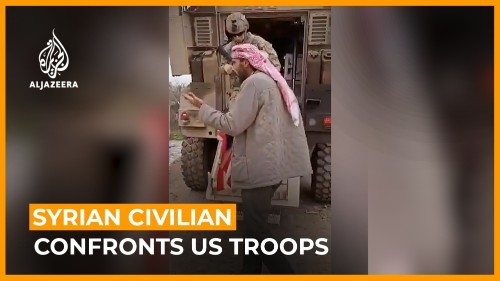 Syrian civilian confronting US patrol on video