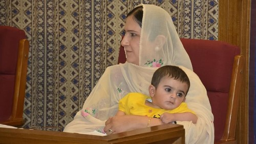 Pakistani legislator kicked out of assembly for bringing her son