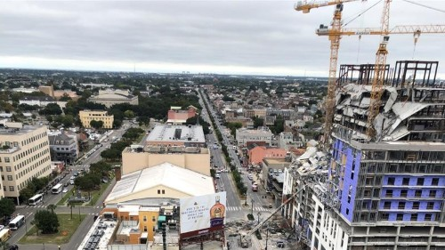 US hotel collapse: Two leaning cranes felled 'exactly' as planned