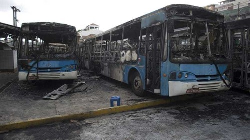 Brazil World Cup fans burn buses in Sao Paulo